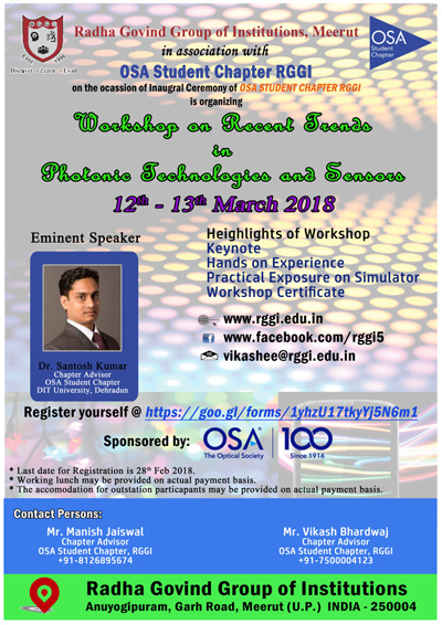 Workshop on Recent Trends in Photonic Technologies and Sensors